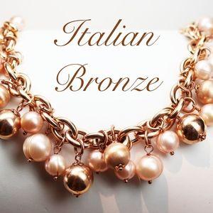 Jewelry - ITALIAN BRONZE & GENUINE PEARL BRACELET *signed*